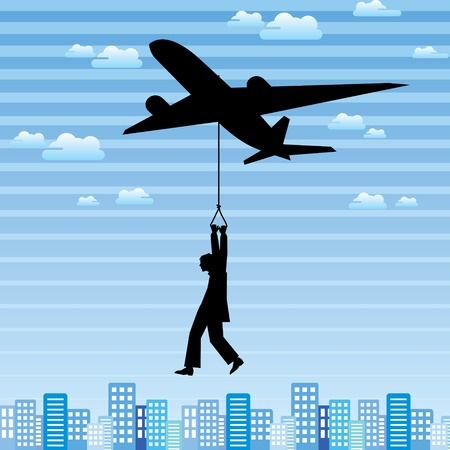 flier: aeroplane and man in the city