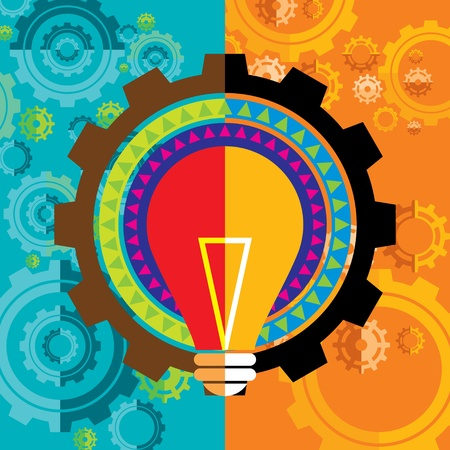 ha: gear and bulb in colorful background