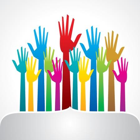 democracia: mano colorido, concepto de democracia Vectores