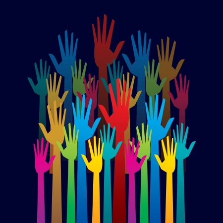 raised hand: colorful up hand concept of democracy Illustration
