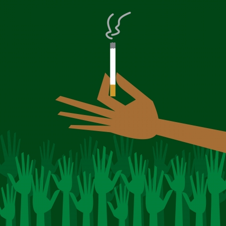 man hand holding a cigarette with smoke Stock Vector - 17763483