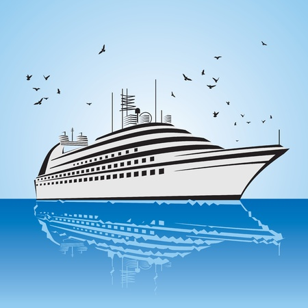 caribbean cruise: a very realistic view of Cruise Ship, similar to the Freedom of the Sea ship  Sailing out at sea  Illustration