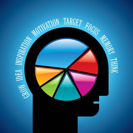 reasoning: open minded man with colorful pie chart graph inside