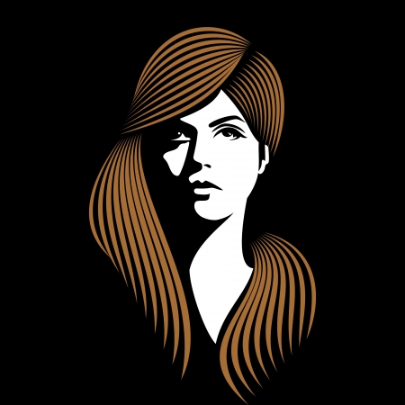 glamor girl with black background Vector