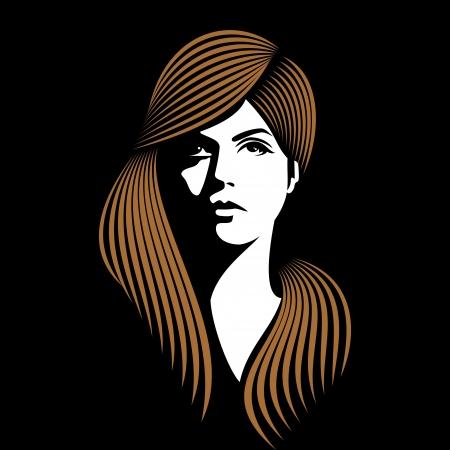 woman face: glamor girl with black background Illustration