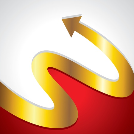 circular arrow: golden bent arrow Illustration