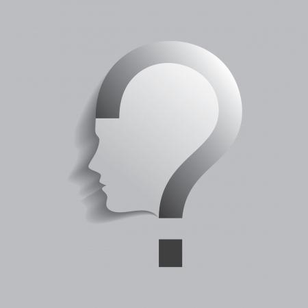 question mark icon: question mark human head symbol Illustration