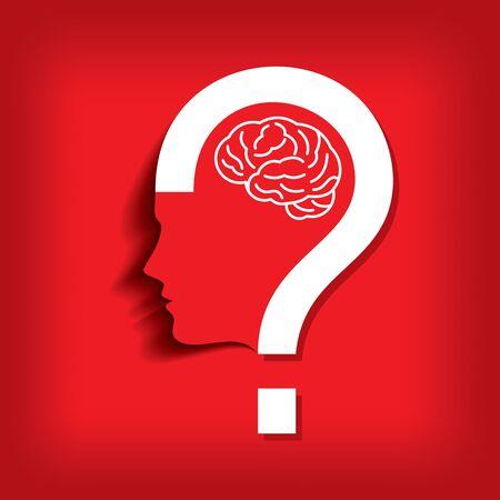 signo de interrogacion: silueta de un signo de interrogación con cabeza humana