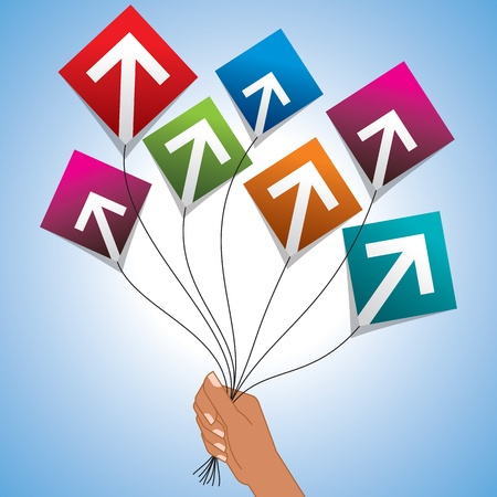 upward: upward arrows with flying kites graphic