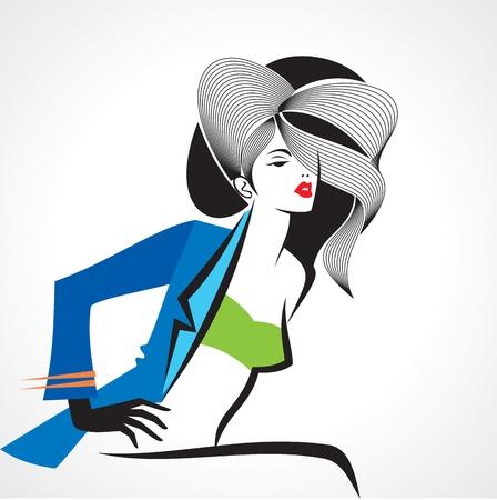 Glamor girl in blue coat Stock Vector - 17762310