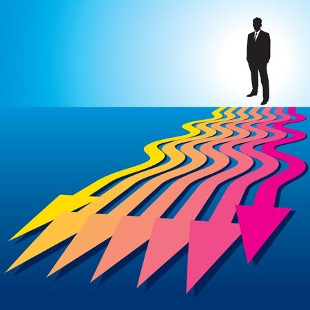persona confundida: decisión de un hombre de negocios Vectores