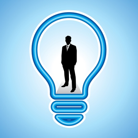 Modern human man inside a high-tech light bulb, smart businessman info graphic concept, Vector