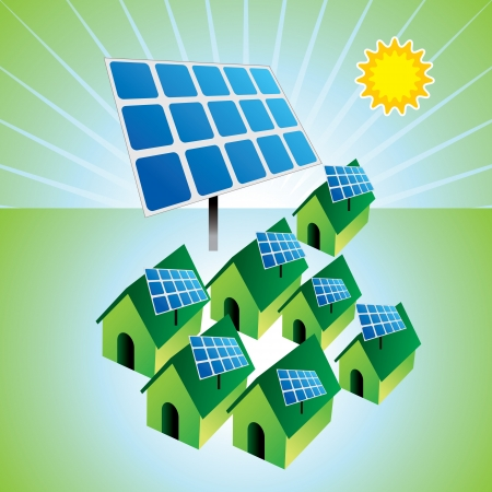 energy conservation: solar panels and houses