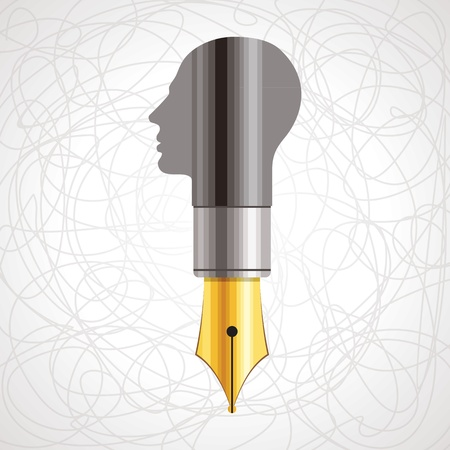pen with human head Stock Vector - 17753450