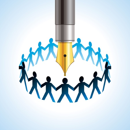 round of peoples  Team and union metaphor with pen Vector
