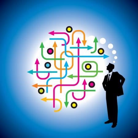Een zakenman draagt pak en lopen naar een zakelijk succes of een andere prestatie te vieren Vector Illustratie