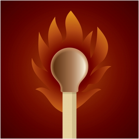 Burning match stick on a brown retro circle background Vector