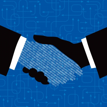 business relationship: hand shake with arrow background