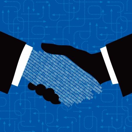 business handshake: hand shake with arrow background