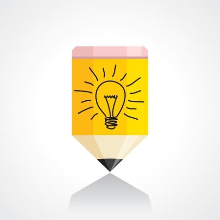 yellow bulb: pencil and bulb idea concept
