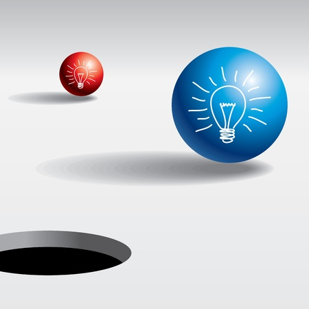 electric hole: ball near the hole  target concept Illustration