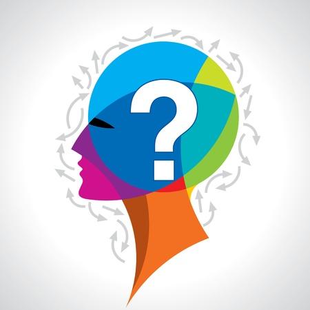 Menschlicher Kopf mit Fragezeichen-Symbol auf bunten Vektorgrafik