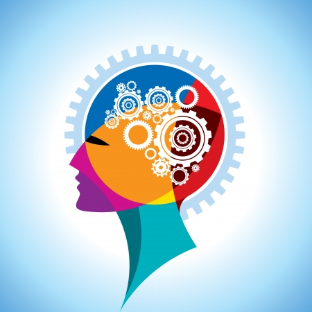 intellect: ingranaggi e ingranaggi in testa umana Vettoriali