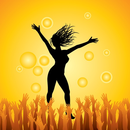 jumping girl with happy hands Stock Vector - 17753230