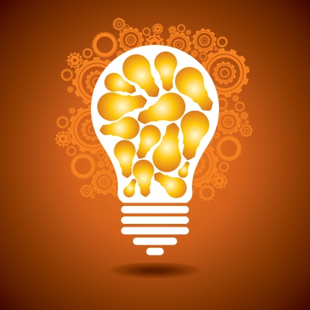 a glowing light bulb, and gears  the concept of making big idea Vector