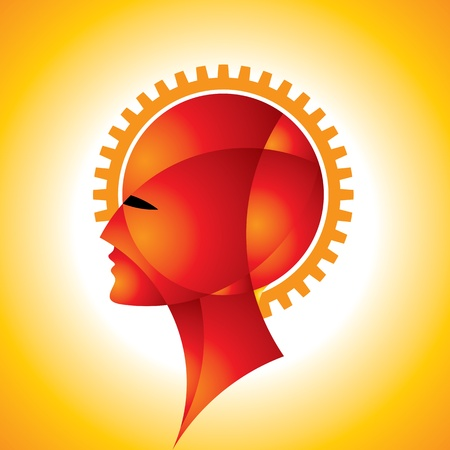 cogs: Cogs o ingranaggi in testa umana Vettoriali