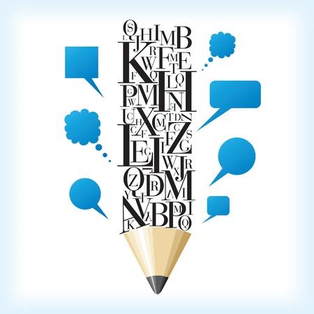 alfabético: l�pis alfab�tica com bolha do discurso