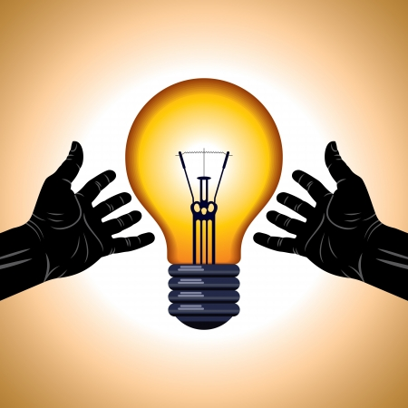 hands hold light bulb concept save electricity Stock Vector - 17751607