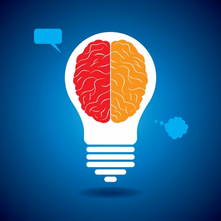 conceptual bulb: silhouette brain with idea and thought bubble