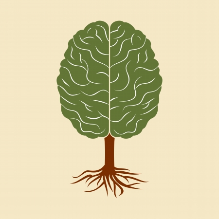 a brain growing in the shape of tree Vector