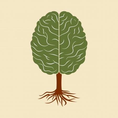 un cerebro en crecimiento en forma de árbol