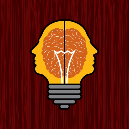 ingenious: concept of brain with bulb as a solution to problem Illustration