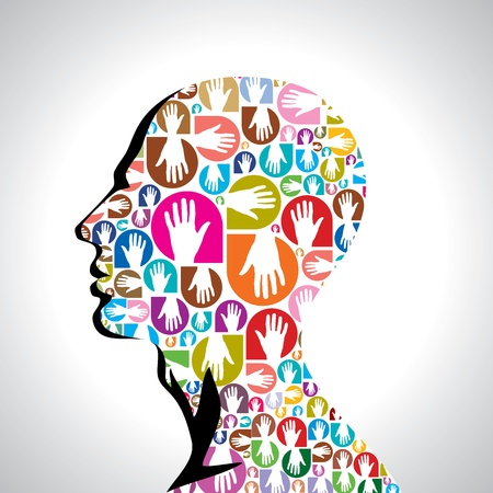 social gathering: colorful hands with shape of human head Illustration
