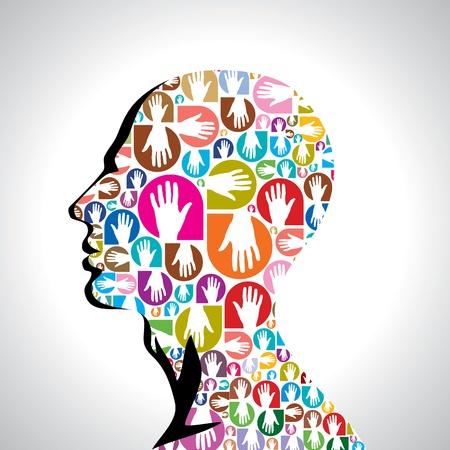 social issues: mani colorate con forma di testa umana Vettoriali