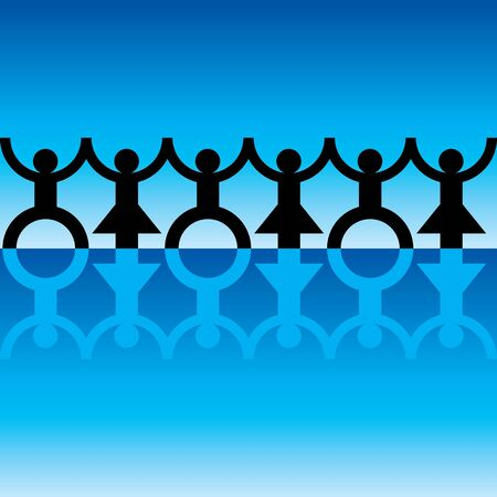 paper chain: String of paper chain men in black and blue ideal border holding hands Illustration