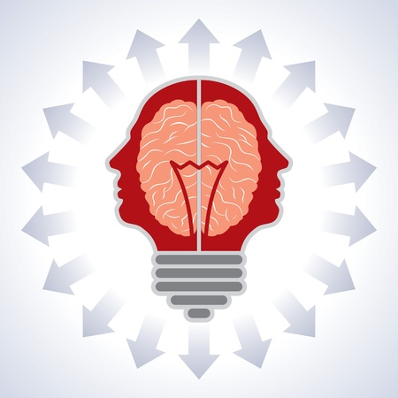 enlightening: Concept of brain with bulbs as solutions to problems  Concept of using brain to create great ideas to solve human problems  Illustration
