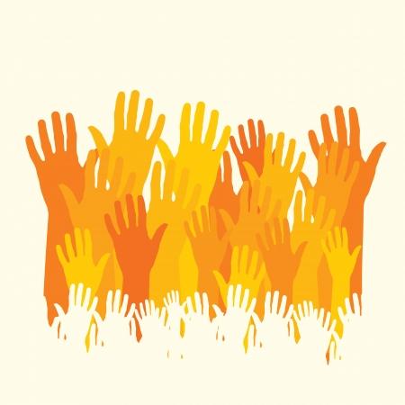 voter: mains heureuses Illustration
