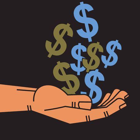 commercial activity: dollar in hand Illustration