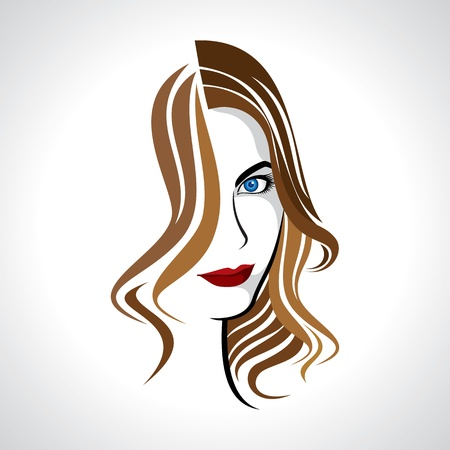 facial expression: glamour girl with brown hair Illustration