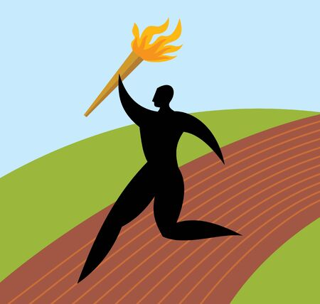 beau: silhouette man runs with the torch