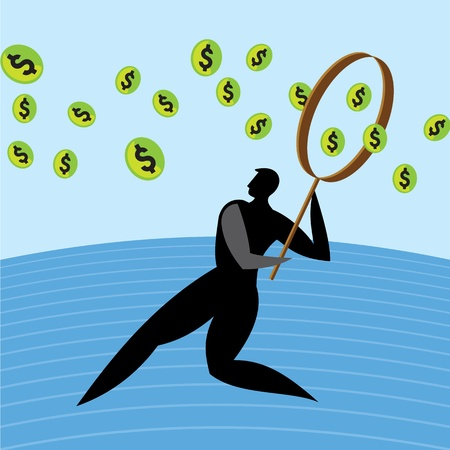 dollar, man magnifying glass  currency profit Stock Vector - 17730186