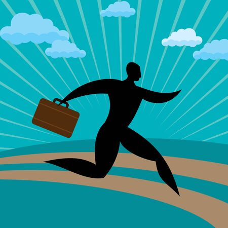 formal signature: silhouette businessman run away against blue background