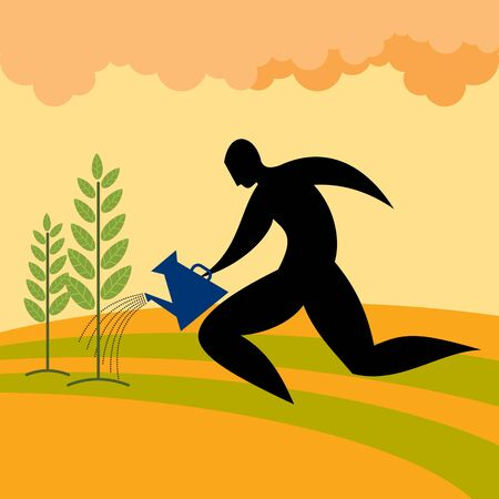 salary man: silhouette man watering plant Illustration