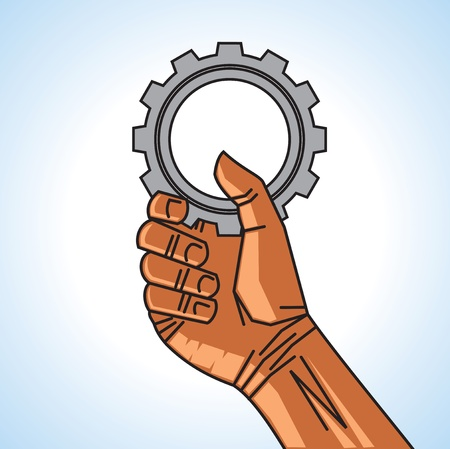 man hand holding gear Stock Vector - 17725778