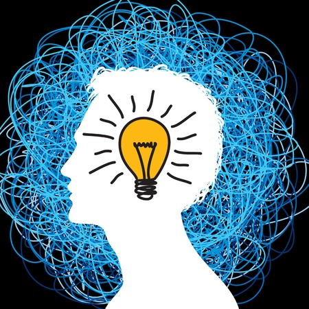mind power: idea concept with silhouette man