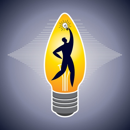 Illustration of man surround with idea bulbs Stock Vector - 17725781